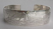 mountain cuff bracelet engraved wide band in silver eagle