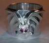 cast silver ring with Bat with Ruby Eyes
