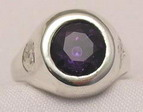 silver signet ring 10mm Alexandrite