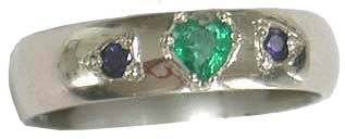 Wedding Band with Emerald Heart and Sapphires  Heart Ruby and Diamonds ring