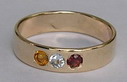Birthstone ring - with 3mm Citrine, Alexandrite and Garnet on 7mm wide band