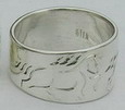 silver ring with engraved Tennessee Walking Horse