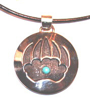 Bearclaw Disc and Turquoise Pendant