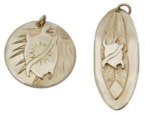 Turtle , Sun and Feather Pendants