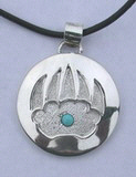 round applique pendant Bearclaw applique with Turquoise and stippling