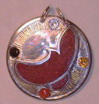 pendant Flying Hawk in silver on silver with Coral, Diamond, Citrine,and Onyx
