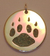 "wolfpaw with turquoise inlay  - 1"" diameter silver on silver"