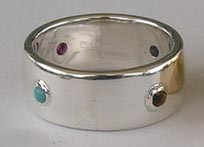 silver ring 2mm Ruby - Citrine - Sapphire and Turquoise