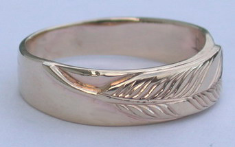 Single Appliqued Feather on thin band- (7mm)   - 14k yellow on yellow gold