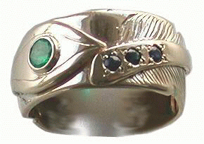 Feather Ring with Emerald and Sapphires Gold on Gold with a 4mm Emerald and 3- 2mm Sapphires