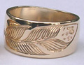 feather ring in 14k gold on wide band