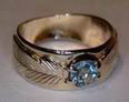 5mm topaz and gold feather medicine wheel ring